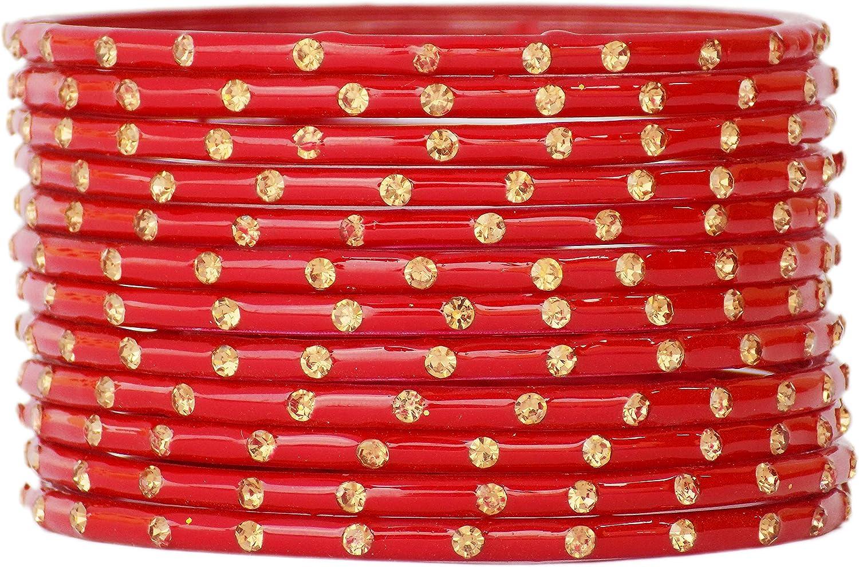 JD'Z COLLECTION Indian Bollywood Jewelry Bangles Set Ethnic Glass Wedding Bracelets Bangles 12pc