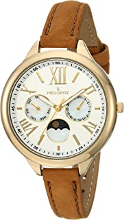 Peugeot Women's '14K Gold Plated' Quartz Metal and Suede Casual Watch, Color:Brown (Model: 3053)