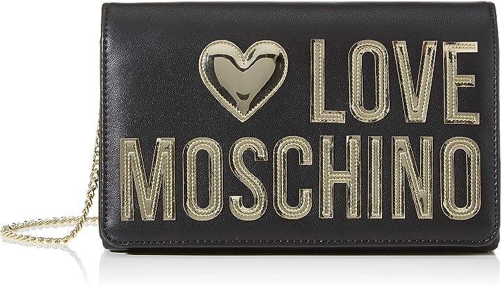 Pochette love moschino da giorno donna nero (black calf) 7x13x22 cm (w x h x l) JC4248PP0A