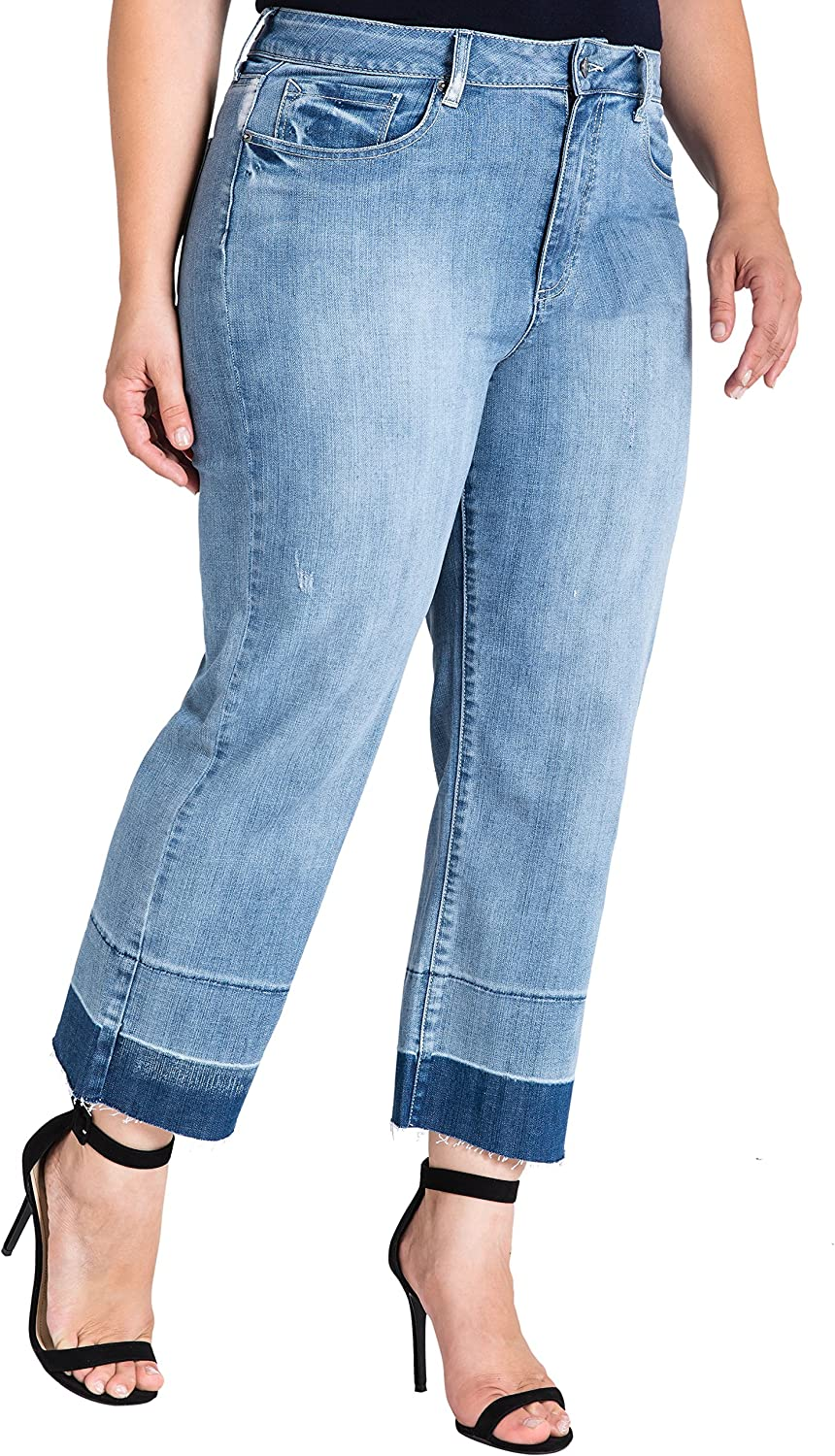 Standards & Practices Plus Size Women's Raw Hem Frayed Cropped Premium Jeans