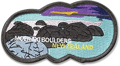 """Spartan and The Green Egg Explorer Embroidered Patch: Moeraki Boulders, New Zealand (Sew or Iron On) 2"""" x 4"""""""