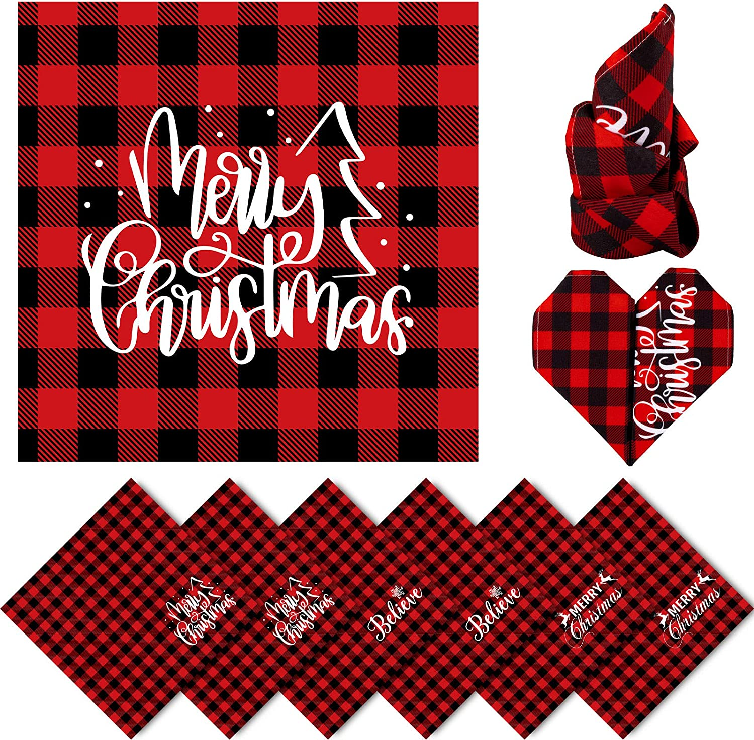 Whaline half 70% OFF Outlet Christmas Cloth Napkins Red Black Placemat Buffalo Plaid