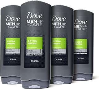 Dove Men+Care Body and Face Wash Extra Fresh 18 oz 4 Count For Dry Skin Effectively Washes Away Bacteria While Nourishing Your Skin