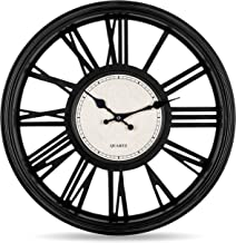 Bernhard Products Black Wall Clock, Silent Non Ticking - 18 Inch Quality Quartz Battery Operated Round Large Decorative Ro...