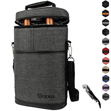 Premium Insulated 2 Bottle Wine Carrier | Wine Tote Bag with Shoulder Strap and Corkscrew Opener | Padded Wine Cooler Carrying Bag for Travel HCGray