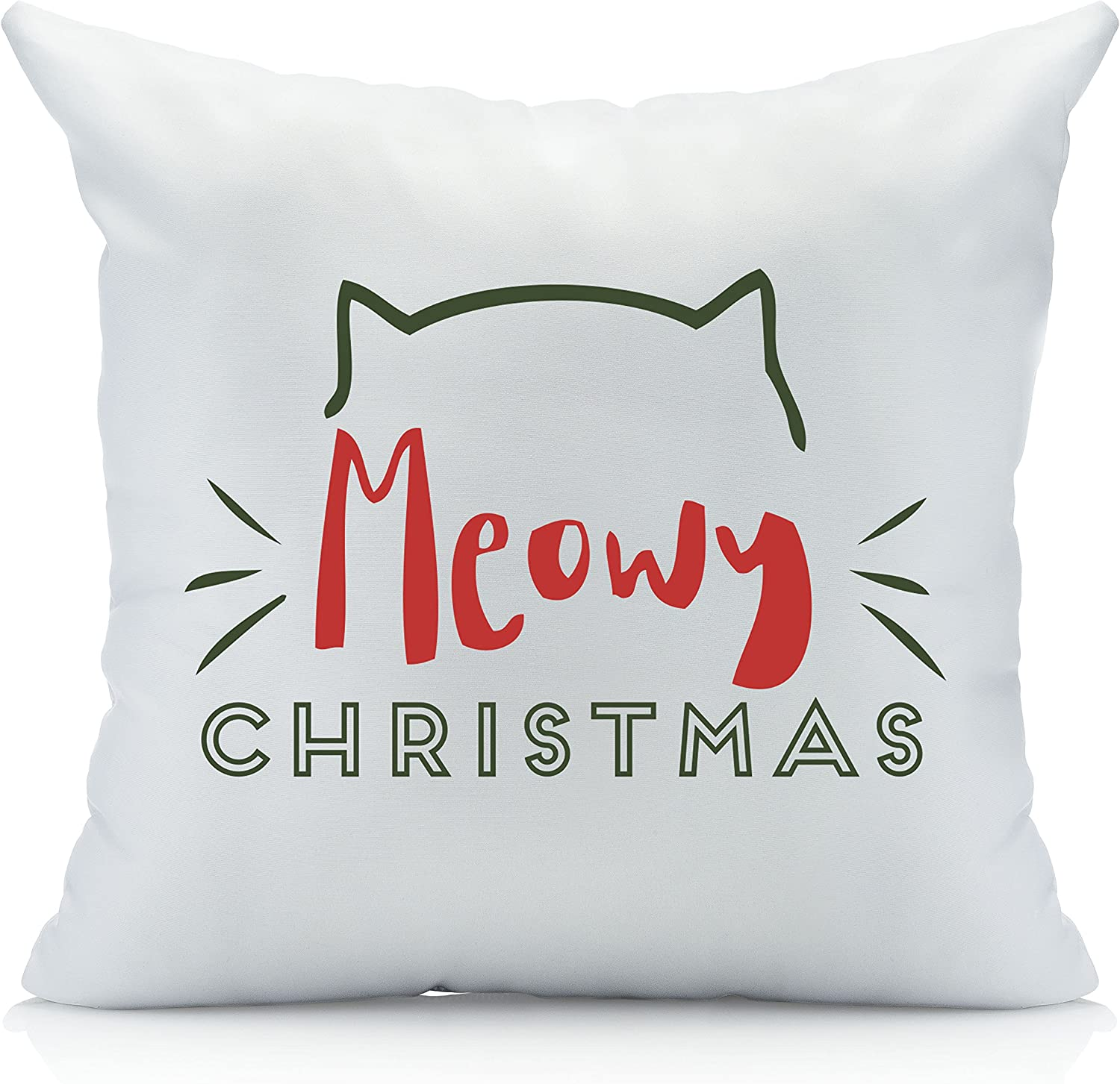 Oh 1 18 by 18 Inches Susannah Meowy Christmas Throw Pillow Cover Multicolor