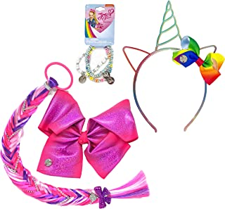 Jojo Siwa Girls Accessory Set, Bow Headband 3 Pack Bracelet and Matching Hair Braid Tie - Purple Rainbow