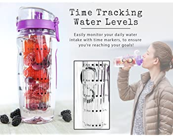 Live Infinitely 32 oz. Fruit Infuser Water Bottles With Time Marker, Insulation Sleeve & Recipe eBook - Fun & Healthy...