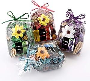 Cedilis 4 Pack Potpourri Dried Flower Bag, Scents of Ocean, Lavender, Strawberry, Green Apple, Home Decoration Fragrance Vase Bowl, Volume of 140 Fluid-Oz, Weight of 14 Oz