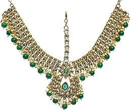 Jewel India Ethnic Traditional Wedding Bridal Gold Party-wear Kundan Pearl CZ Indian Maang Tikka Matha Patti Head Jewelry for Women