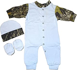 JLCK Baby Boys Creeper Blue with Mossy Oak Camo Trim Hat, Creeper & Booties (3-6 Months)