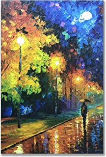 Alenoss Oil Paintings 36x24 inch, Romantic Rainy Night 100% Hand Painted Contemporary Abstract Modern Canvas Decorative Knife Painting Artwork on Canvas Wall Art Home Decorations Ready to Hang