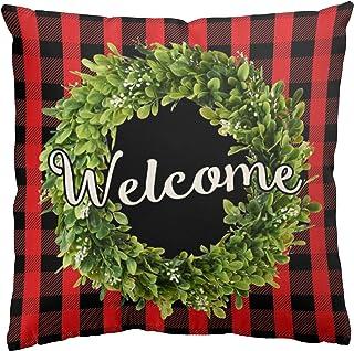 ORTIGIA Christmas Boxwood Wreath Buffalo Red Check Plaid Throw Pillow Cover,Farmhouse Rustic Linen Home Decorative Throw Pillowcase, 18 x 18 Inch Cute Cushion Protector for Sofa Couch