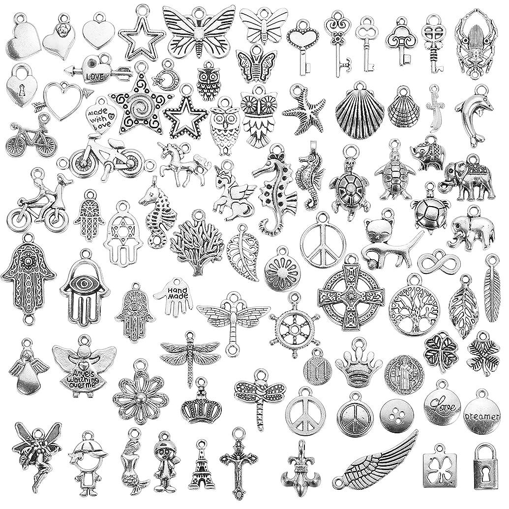 Bulk Charms YUGDRUZY Wholesale Charms 200Pcs Metal Jewelry Charms Silver for Bracelet Necklace DIY Mixed Silver Bulk Charms for Jewelry Making Silver Pendants Charms for Women Kids Jewelry Making