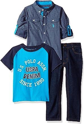 4fe76eb31 U.S. Polo Assn. Little Boys' Long Sleeve Shirt, T-Shirt and Pant
