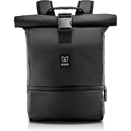 HEAVER® Rucksack Rolltop schwarz mit Schuh- und Laptopfach, für Damen und Herren, Flexibles Volumen bis 28L, wasserabweisend, für Sport, Freizeit, Uni, Reisen und Job