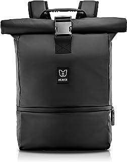 HEAVER® Rucksack Rolltop schwarz mit Schuh- und Laptopfach, für Damen und Herren, Flexibles Volumen bis 28L, wasserabweise...