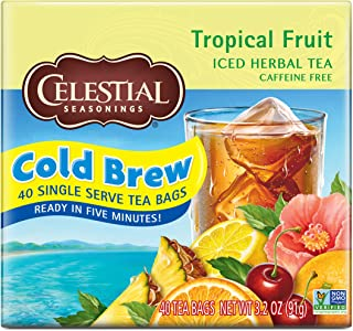 Celestial Seasonings Cold Brew Iced Tea, Tropical Fruit, 40 Count (Pack of 6)