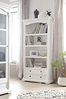 NovaSolo Provence Pure White Mahogany Wood Bookcase With 4 Shelves And 2 Drawers
