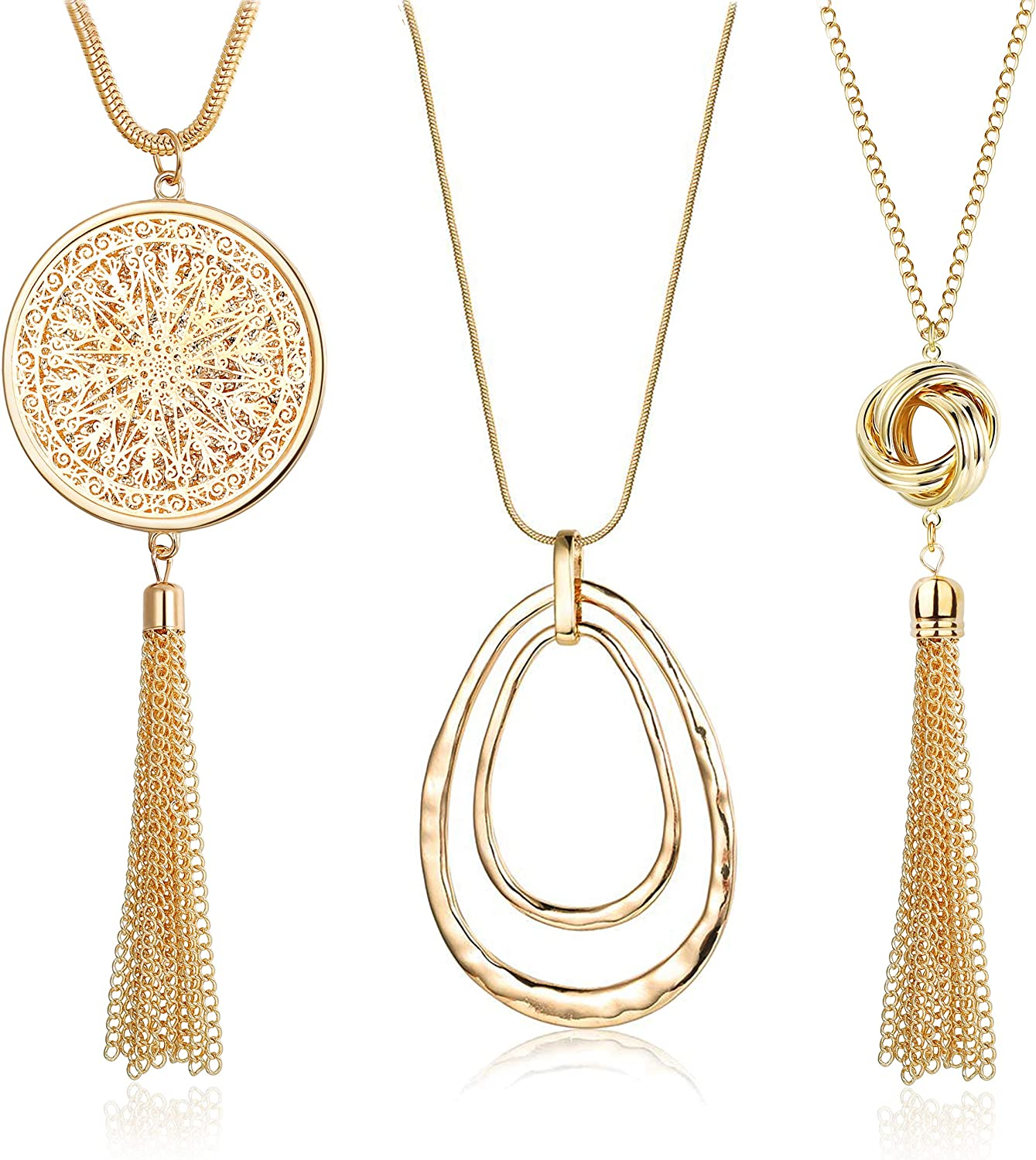 FUNRUN JEWELRY 3PCS Long Pendant Necklace for Women Circle Knot Tassel Necklace Sweater Chain Statement Necklace Set