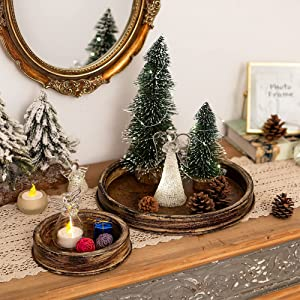 Rustic Tray Candle Plate Holder - Set of 2 Decorative Trays Small Trinket Organizer for Farmhouse Table Centerpiece Kitchen Countertop Coffee Table Home Decor Accessories, Size S + L