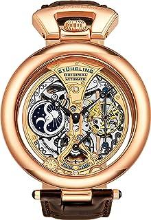 ساعة اوتوماتيكية سترلنغ اوريجينال امبرور غرندور مع خلفية شاشة بالذهب الوردي و سوار جلدي - 127A.334553