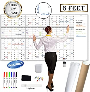 """$49 » Large Reusable Dry Erase Yearly Wall Calendar - Jumbo Premium Laminated 12 Month Task Organizer - 38""""x72"""" Undated Annual Planner for Home, Office, School Projects"""