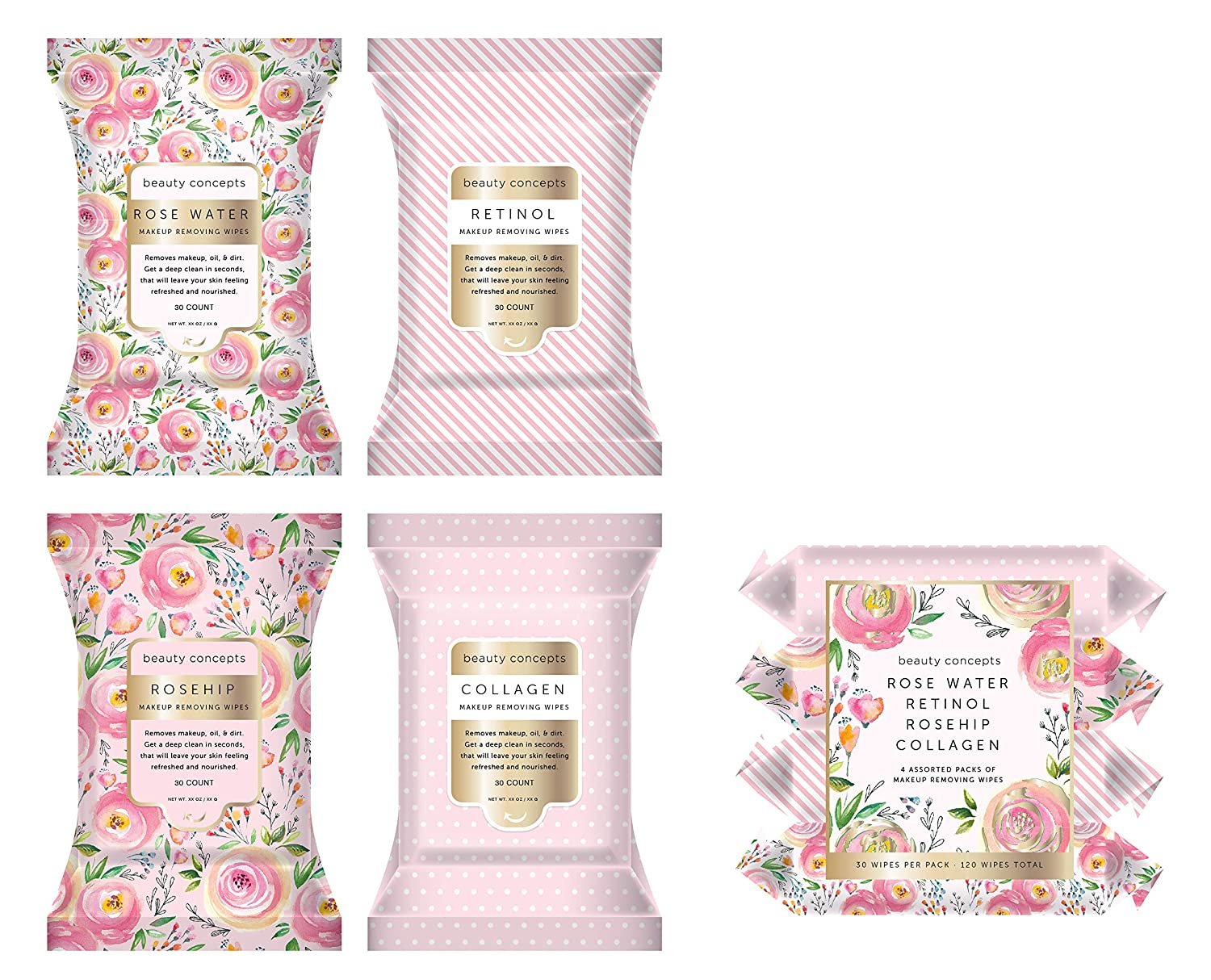 Beauty Concepts Facial Wipe Set- 4 Packs of Face Wipes, Makeup Removing Wipes with Rose Water, Retinol, Rosehip, and Collagen, Pink Floral Package : Beauty & Personal Care