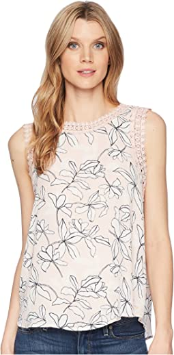 Printed Georgette Sleeveless with Lace Arm Hole Trimming