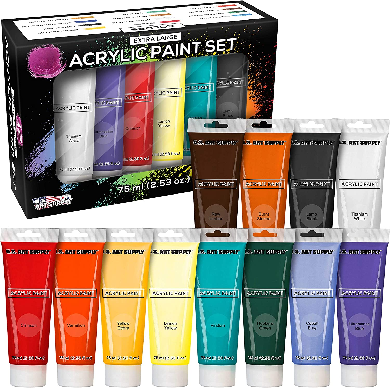 U.S. Art Supply 75ml Acrylic 12 - Tube Color Large 2021 autumn and winter new Regular discount A Extra Paint