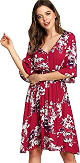 short sleeve red floral dress