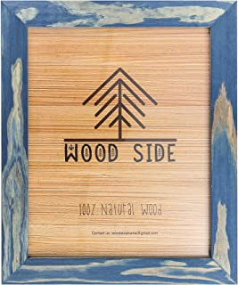 Rustic Wooden Picture Frame 11x14 - Natural Solid Eco Distressed Drift Wood for Wall Mounting Photo Frame - Navy Blue