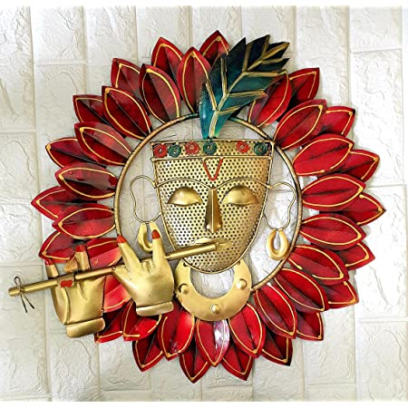 AHN Pranjals House Metal Religious Kanha Playing Flute Wall Hanging 23 inches For Home Decoration, Red