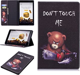GNT Case for All-New Amazon Fire HD 10 Tablet(5th/7th Generation,2015/2017 Release), PU Leather Wallet Folding Stand Case Cover with Auto Wake/Sleep for Fire HD 10.1 Inch Tablet(Bear)