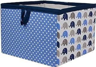Bacati - Storage Tote (Large 14 x 14 x 10 inches, Elephants Blue/Grey)