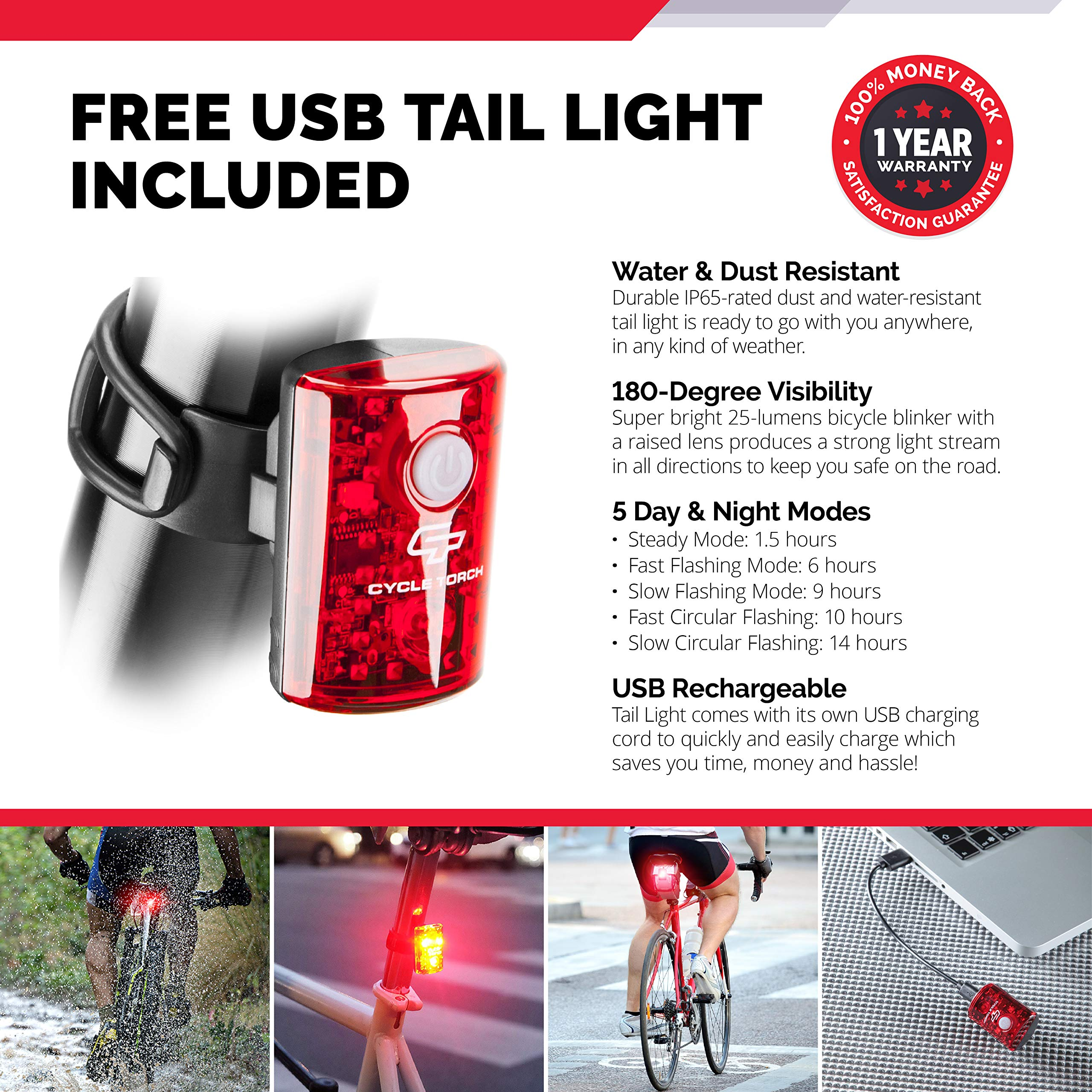 Cycle Torch Night Owl USB Rechargeable Bike Light Set, Perfect Commuter Safety Front and Back Bicycle Light LED Combo, USB Tail Light Included, Compatible with Mountain, Road, Kids & City Bicycles