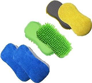 Polyte - Set de esponjas antiarañazos de Microfibra - Ideales para Lavar el Coche - Multicolor - 11 x 23cm - Pack de 3