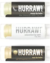 Hurraw Moon Night Treatment, Unscented, Sun Protection SPF 15 Lip Balms, 3 Pack Bundle