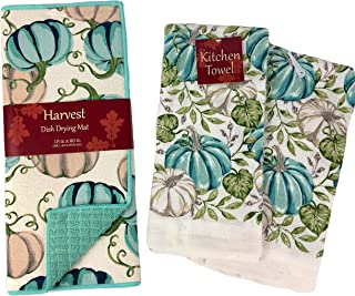 Decorative Fall Pumpkins Dish Drying Mat and Matching Kitchen Towel Bundle