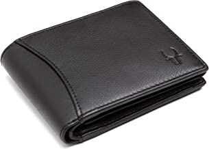 WildHorn® RFID Protected 100% Genuine High Quality Mens Leather Wallet (Matte Black)