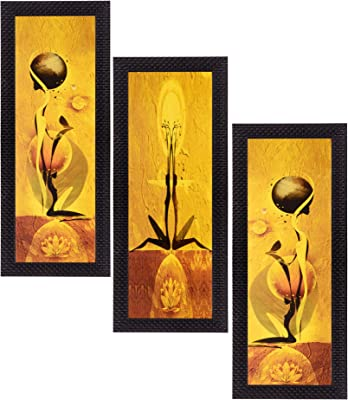 eCraftIndia Satin Matt Textured Synthetic Wood Art Painting Set (17.78 cm x 1.27 cm x 40.64 cm, Set of 3)