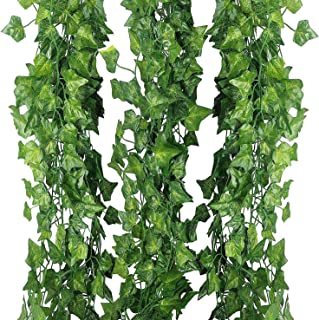 ELINSON 84 feet Artificial Vines Greenery Garland Fake Hanging Leaves Faux Foliage Plants for Wedding Party Garden Home Kitchen Office Wall Decorations (Ivy/12 Strands)
