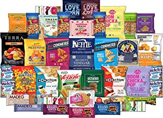 Premium Healthy Snacks Assortment Care Package - Variety of Popcorn, Chips, Crackers, Nuts, Bars (40 Count)