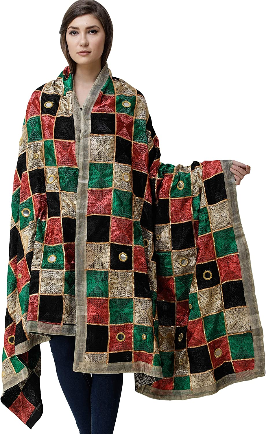 Exotic India Phulkari Dupatta from Popular brand in the world Embroidery Punjab with High material All-Ov