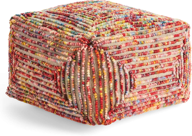 Great Fashionable Deal Furniture Cindy Boho Ottoman Fashionable Pouf Multico Wool Large
