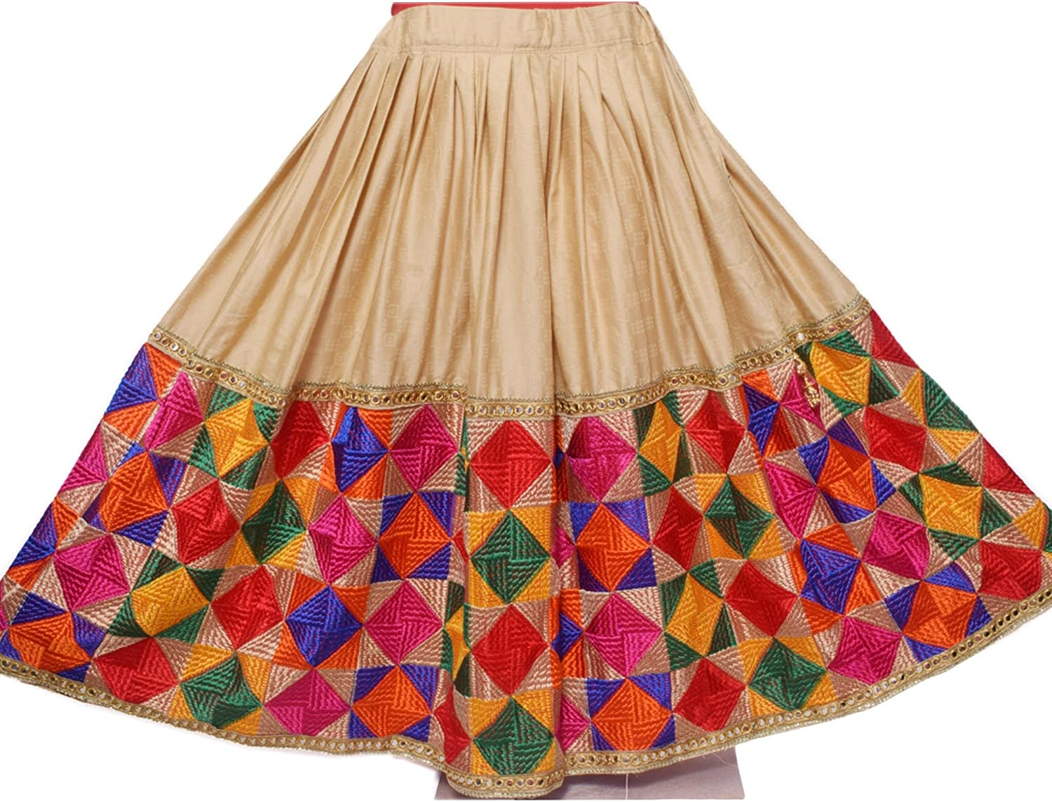 Vintage Ghagra Designer Phulkari Lehenga Stylish Flared Long Skirt