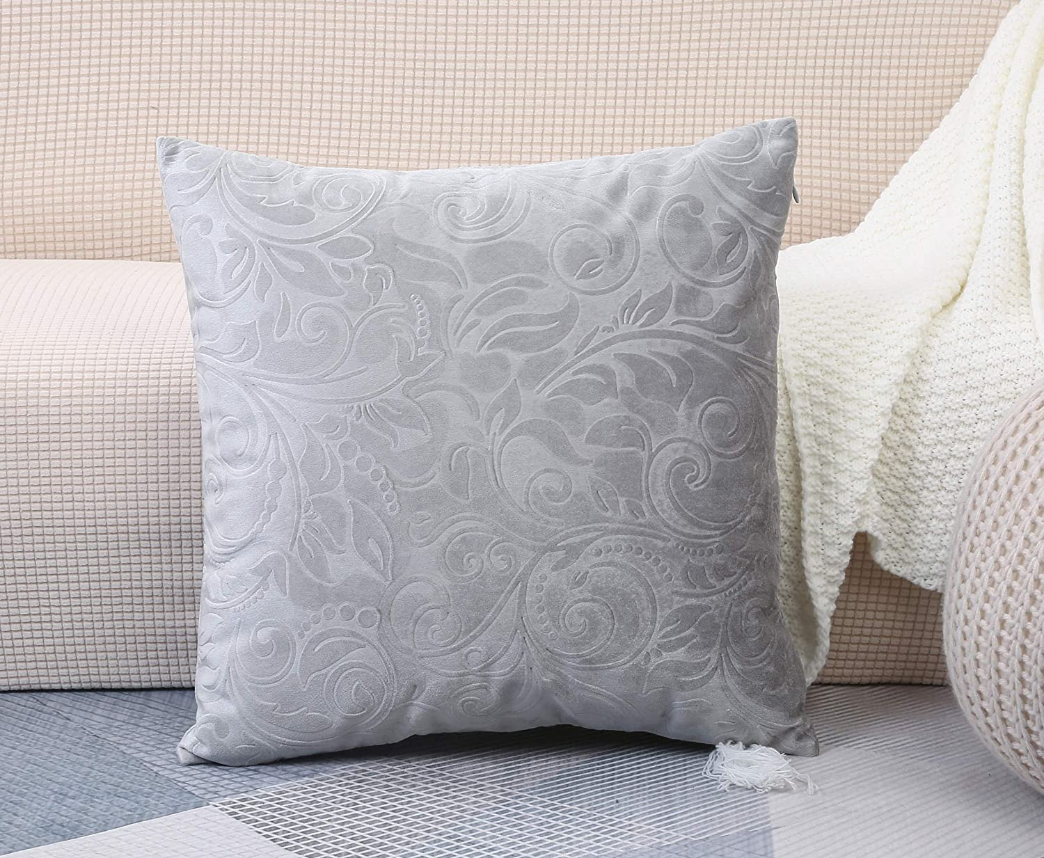 TangDepot Heavy Velvet Embossing Throw Pillow Cover, Classis Floral Anaglyph Velvet Fabric, Decorative Pillow Cover, Indoor/Outdoor Pillows Shell, Cushion Cover - (12