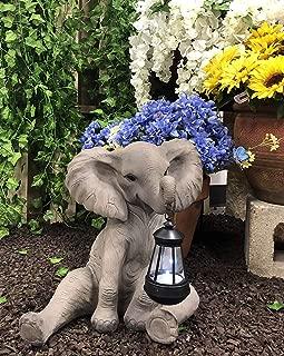 Ebros Safari Savanna Wildlife Animal Melee Adorable Pachy Elephant Statue Home Patio Decor Figurine with Solar LED Light Lantern Lamp 13.75