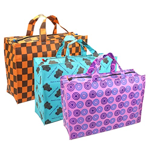 0b07f6698f0 NISUN 3 Pack Eco Friendly Printed Non Woven Grocery Bag Shopping Bag with  Zipper – Multi