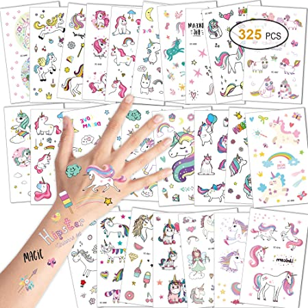 Konsait Unicornio Tatuajes temporales Falso Tatuajes Pegatinas para niños niñas Fiestas Infantiles Unicornio cumpleaños de niños Regalo piñata, 25 Hojas